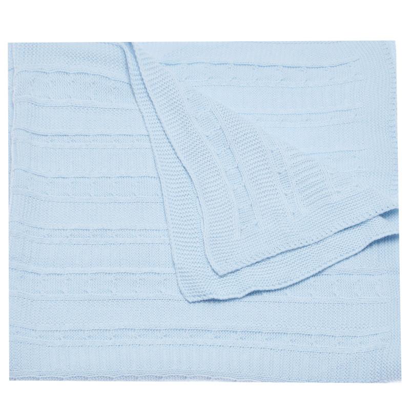 Pătură tricotată pentru bebeluși, de culoare albastră  97737