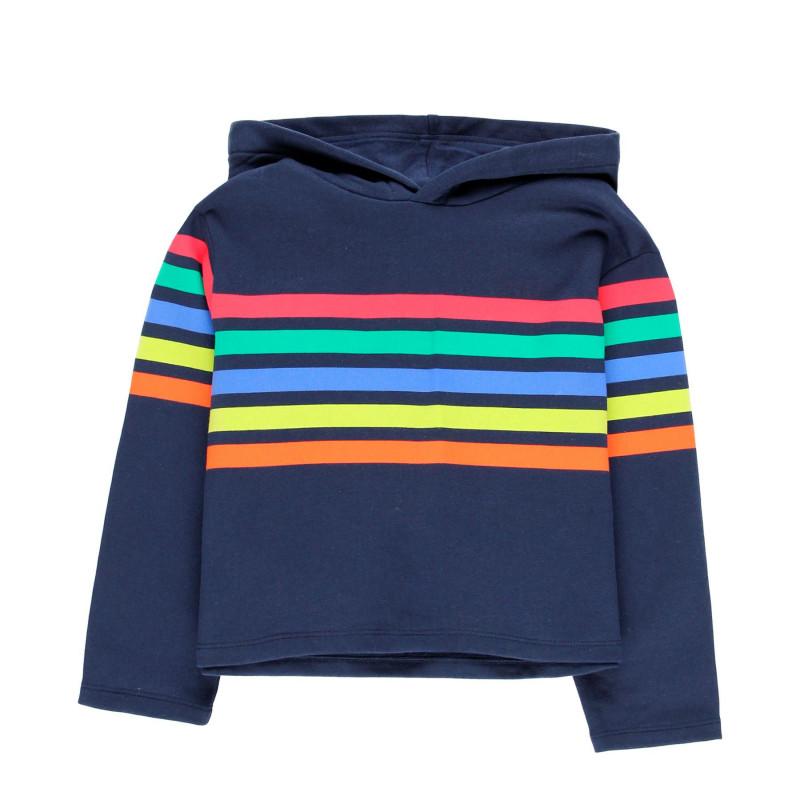 Pulover cu glugă din bumbac cu dungi colorate pentru fete  99156