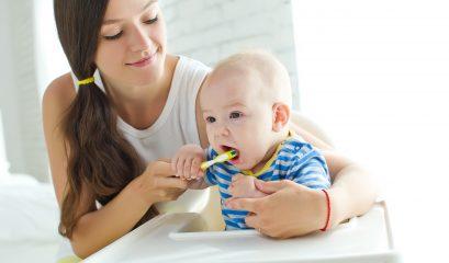 Mother,teaching,kid,teeth,brushing
